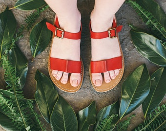 Summer Sandals, Leather Sandals, Strappy Sandals, Flat Sandals, Comfortable Sandals, Ankle-Strap, Casual Shoes, Red Sandals