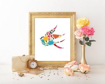 Bird Art Print, Sparrow Wall Art, 8x10 Printable, Bright Flower Nursery Art Print, Sparrow Art Print, Bright Colors, Bird Silhouette