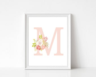 Pink Initial Floral LETTER M (all letters available) Printable Wall Decor 8x10 INSTANT DOWNLOAD