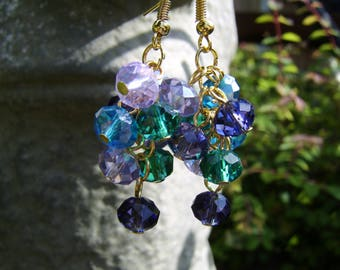 Crystal Cluster Earrings. Lilac, Purple And Teal Cluster Earrings. Beaded Earrings. Boho Earrings. Bead Cluster Earrings. Crystal Earrings.