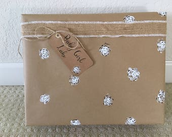 Hand-painted, floral wrapping paper, tags and twine