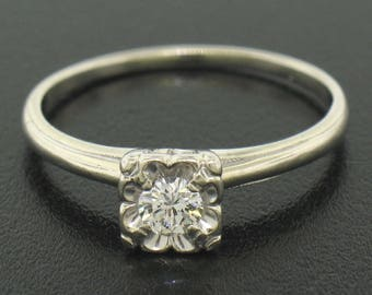 Vintage 14k White Gold 0.20ct F VVS2 Illusion Set Round Diamond Solitaire Ring