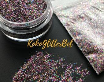 Rainbow Jewels Micro Fine Glitter Hex Mix Solvent Resistant for Nail Art * 1 Tsp, 10 Gram Jar, 1/4 Oz