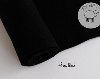 """Pure wool felt, Black, 100% wool felt band 20cm by 91cm (9"""" x 36""""), 1 - 1,2mm - Ships from Ireland"""