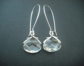 crystal glass briolette earring - clear
