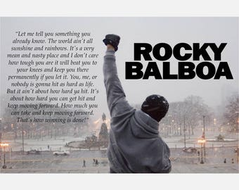 Rocky Balboa Quote Color Print Poster or Canvas