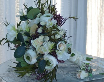 LARGE Loose Wedding Sweet Pea Bouquet and FREE Boutonniere Blush Ivory Cream Green