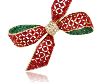 Gold-tone Swarovski Element Crystals Christmas Red Ribbon Bow Brooch Pin