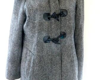 Vintage Wool Tweed Coat Car Length Guess Los Angeles Size M