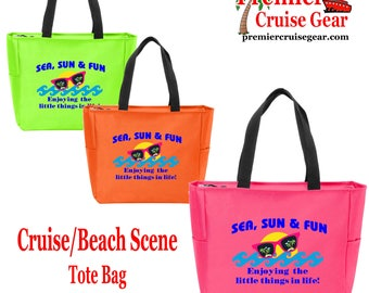 Cruise theme Tote Bag.  Colorful beach and/or cruising themed decorations