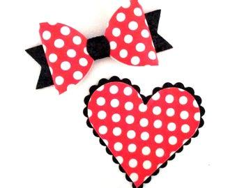 Polka Dot Heart Hair Clip and Bow