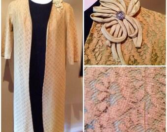 Vintage 1950s Mustard Lace Evening Coat - M/L