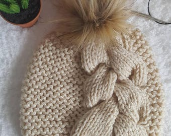 Adult Hat with Faux Fur PomPom, Adult Beanie, Faux Fur Hat, Faux Fur Beanie, Adult Hat