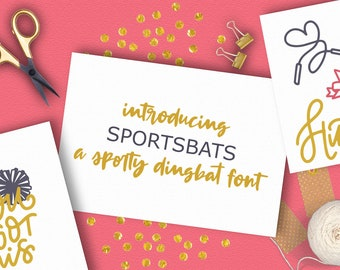 Sports, Dingbat, Font, Baseball, Symbol, Otf, Cheerleading, Ornament, Ttf, Svg, Icon, Cricut, Silhouette, Cricut Fonts, Silhouette Fonts