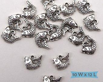Koi Fish Silver Tone Charm Dangles Nickel Free Left Facing--5 Pcs. | 41-681SL-5