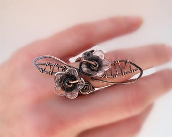 Floral ring Floral jewelry Nature ring Flower jewelry Wire wrapped ring Wire wrapped jewelry Statement ring Handmade Copper ring