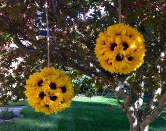 Sunflower Kissing Ball - 10 inches, Sunflower Ball, Sunflower Pomander, Kissing Ball, Sunflower Wedding, Wedding Decor, Sunflower Decor