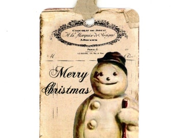 Vintage Snowman Gift Tags , Christmas Tags , Victorian Snowman , Merry Christmas , Shabby Tags , Rustic , Snow Person , Antique Snowman