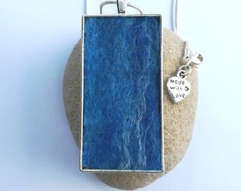 Handmade Rectangular Felt Pendant Necklace