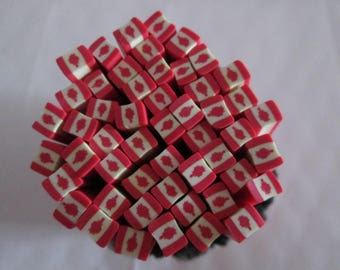 cane polymer clay pattern Canadian flag