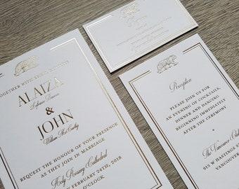 Hot foil wedding suite; hot foil wedding invitations, hot foil reception cards, hot foil RSVP cards. Gold hot foil, silver foil, copper foil