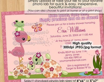 Once Upon a Pond Turtle Baby Shower Invitations / turtles Flamingo Frog OUP #0080 / Personalized DIGITAL INVITATION