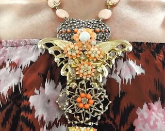 Butterfly Statement Necklace, Coral Necklace, Vintage Assemblage Necklace