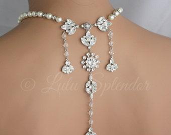 Backdrop  Wedding Necklace Crystal Bridal  Back Drop Necklace Statement Backdrop Necklace Wedding Jewelry BREA GRAND NECKLACE