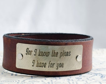 For I know the plans I have for You -  Adjustable Leather Snap Cuff with Engraved Metal Plate