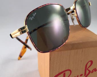 Vintage Ray Ban Bausch And Lomb Rectangular Gold Tortoise Frame Sunglasses