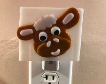 Cute Cow Fused Glass Night Light