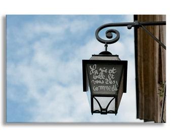 Paris Photograph on Canvas - La Vie Est Belle, Street Lamp, Gallery Wrapped Canvas, Architecture, Urban Decor, Large Wall Art