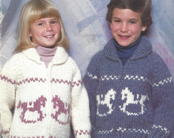 Childs Knit Siwash Sweater Pattern, Cardigan or Pullover, Book B 6602