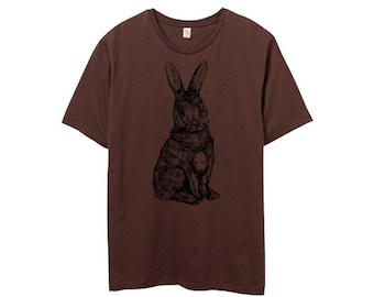 Mens Rabbit Tshirt, Brown, Rabbit shirt, brown bunny, rabbit illustration, Mens Crew Neck Tshirt - Small, Medium, Large, XL, 2XL