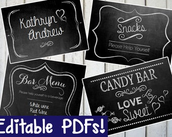 Wedding Chalkboard Sign EDITABLE - DIY - PRINTABLE - Instant Download, Print, Party - Paper Props Chalk Board signs - wedding, engagement\