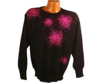 Gem Sweater Vintage 1980s Sparkly Yarnworks Stars size L