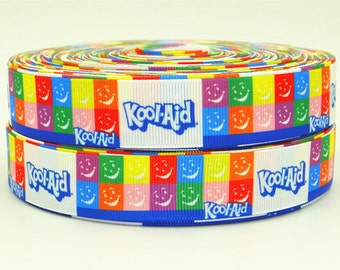"""7/8"""" wide 3 yards Kool-Aid ribbon/ Party favor/ decoration/ drink/ kids"""