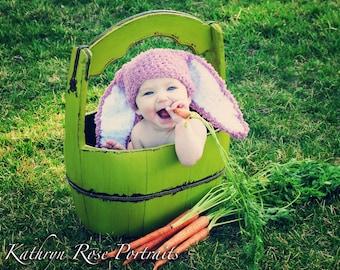 5T to Teen Kids Bunny Hat Beanie Crochet Hat Plum White Bunny Ears Easter Hat Childrens Hat Rabbit Hat Style Girl   Kids, Baby Gift