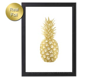 Pineapple Print, Pineapple Gold Foil Print, Pineapple Decor, Affiche Ananas, Tropical, Pineapple Wall Art, Rose Gold Silver,Pineapple Poster