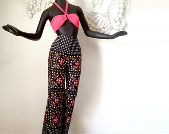 Groovy Hippie High Waisted Bell Bottom Pants Vintage 1960s 60s 1970s 70s MOD Neon Black Deadstock NWT New with Tags NOS New Old Stock M L