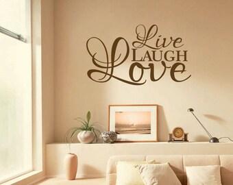 "Inspirational Wall Quote  ""Live, Laugh, Love"", Wall Art Sticker, Vinyl Decal, Modern Transfer."