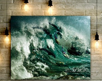 """Wrapped Canvas """"Sea Nymphs"""" Mermaids Swimming with the Dolphins New Art!"""