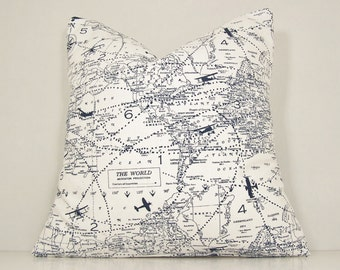 Map Pillow Cover, World Map, Planes, Travel,Toss Pillow, Navy Pillow, Lumbar,Couch Pillow,Throw Pillow,World Map,Various Sizes,Cover