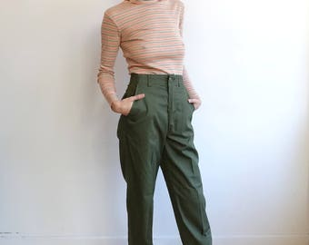 Vintage Army Utility Trousers/ US Military Type 1 Drab Green Pants/OG 507/ Size XS S 26 28/31