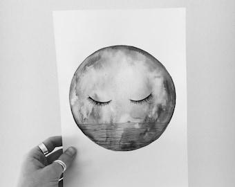 Sleepy Moon Print