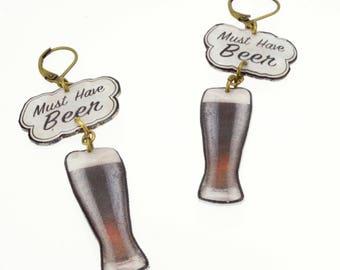 Stout Beer Art Earrings - Beer Gear - Beer Gift - Beer Jewelry - Hop Head