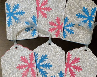 Silver Glitter Pink Blue Snowflake Holiday Rectangle Gift Tags Set of 6