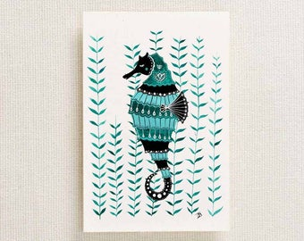 Seahorse Postcard   A6 Postcard   Seahorse Art   Seahorse Painting   Beach Art   Folk Art   Folklore   Gouache   Nautical Art   Seaside