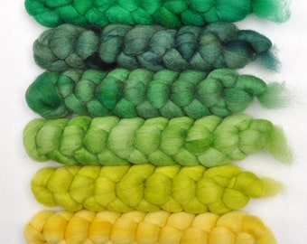 Hand dyed roving -  Blue Faced Leicester (BFL) wool spinning fiber - 6.3 ounces - Dancing Elf