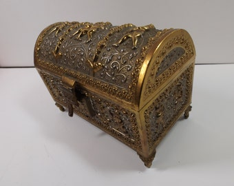 Sale HIMARK Japan Putti Floral Design Renaissance Brass Keepsake Footed BoxCherubs Jewelry Box